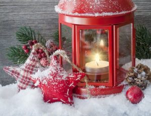 Christmas scene with snow and lantern